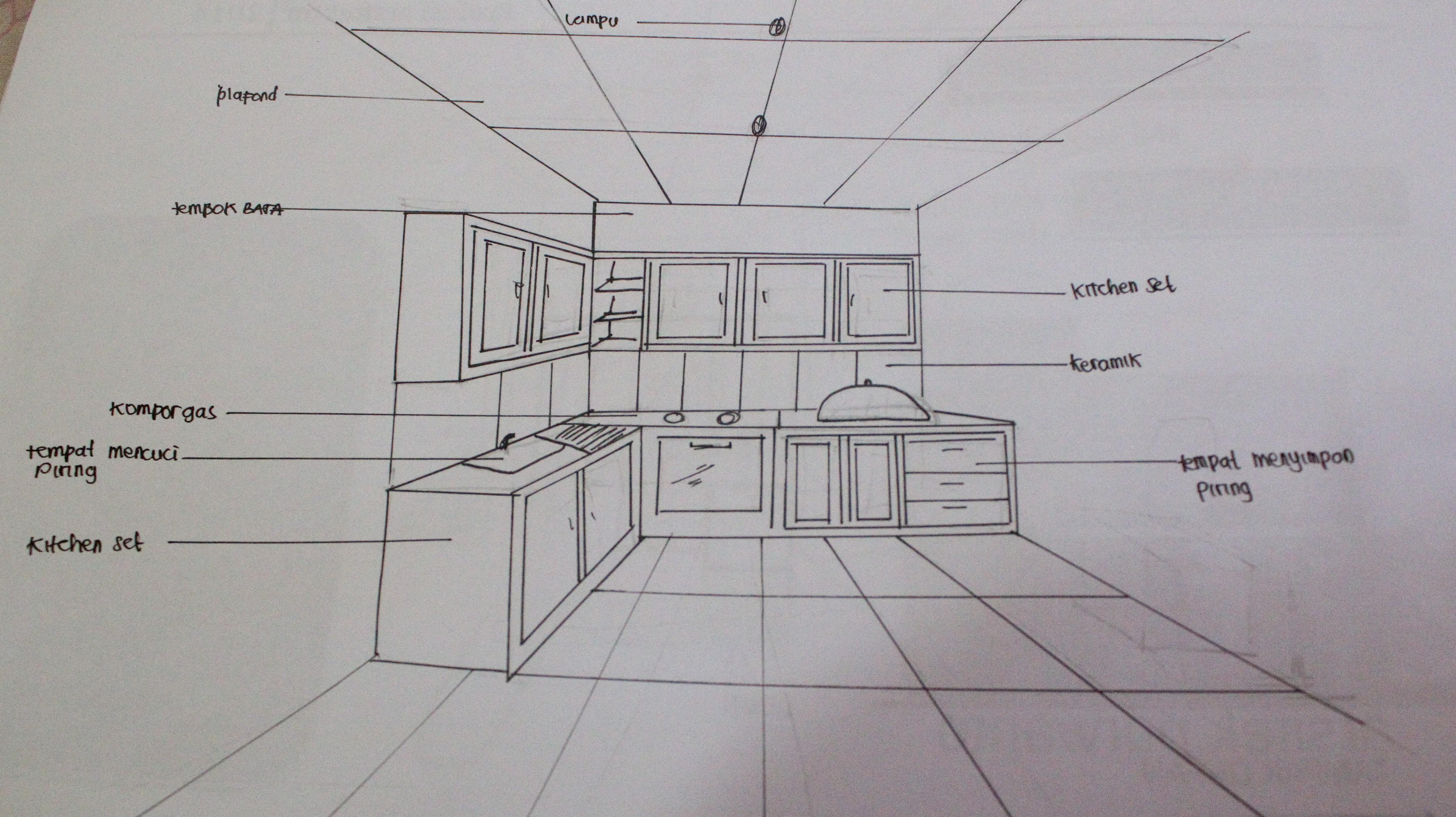 Gambar Sketsa Meja Dapur